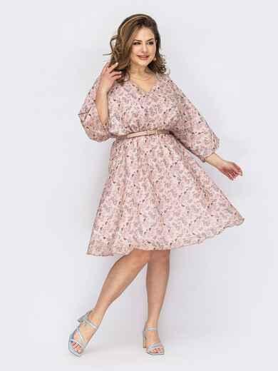 Платье батал с принтом и V-образным вырезом розовое 53802, фото 1