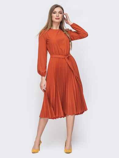 Платье терракотового цвета с юбкой-плиссе 45864, фото 1