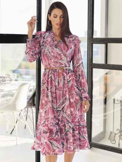 Розовое платье из шифона с принтом и V-образным вырезом 54819, фото 1