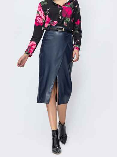 Тёмно-синяя юбка из эко-кожи  44112, фото 1