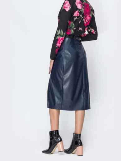 Тёмно-синяя юбка из эко-кожи  44112, фото 2