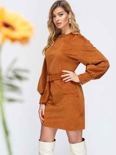 Терракотовое платье с объемными рукавами 44904, фото 1