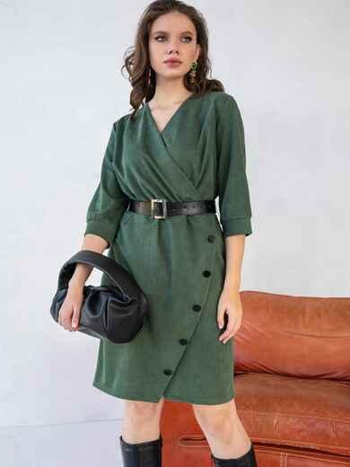 Вельветовое платье батал приталенного кроя хаки 51323, фото 1