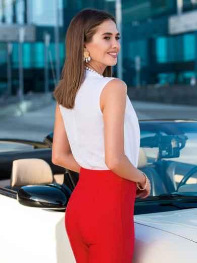 Блузка белого цвета с V-вырезом - 40074, фото 3 – интернет-магазин Dressa