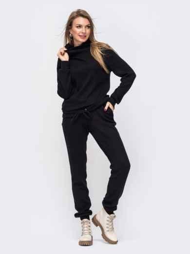Брючный костюм из ангоры с кофтой чёрный 51641, фото 1