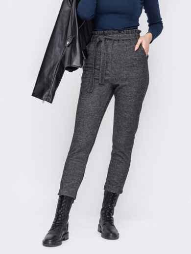 Укороченные брюки графитового цвета с высокой посадкой 53063, фото 1
