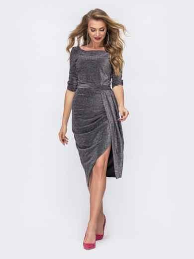 Чёрное платье из люрекса с юбкой-тюльпан 42845, фото 1