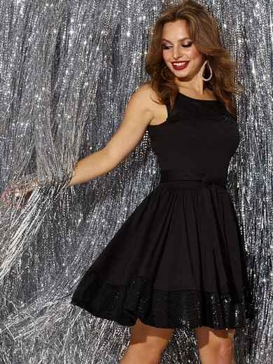 Чёрное платье-мини с пайетками и расклешенной юбкой 42847, фото 1