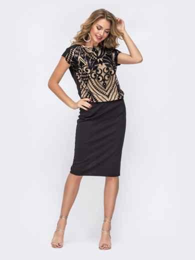 Чёрное платье с пайетками и напуском по талии - 42844, фото 2 – интернет-магазин Dressa