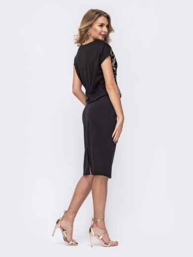 Чёрное платье с пайетками и напуском по талии - 42844, фото 3 – интернет-магазин Dressa