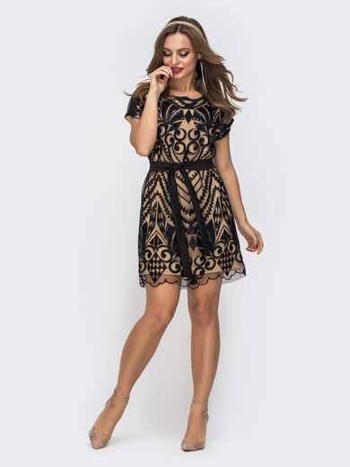 Двухслойное платье с пайетками на фатине бежевое 42843, фото 1