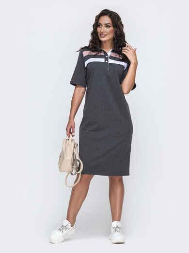 Платье-футболка большого размера серое 49978, фото 1