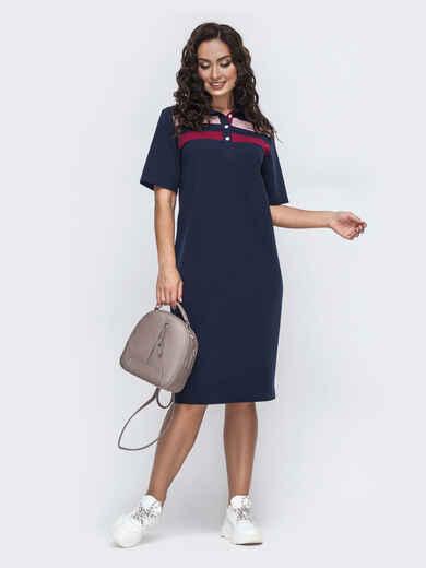 Платье-футболка большого размера тёмно-синее 49976, фото 1