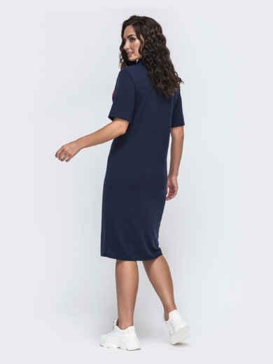 Платье-футболка большого размера тёмно-синее 49976, фото 2