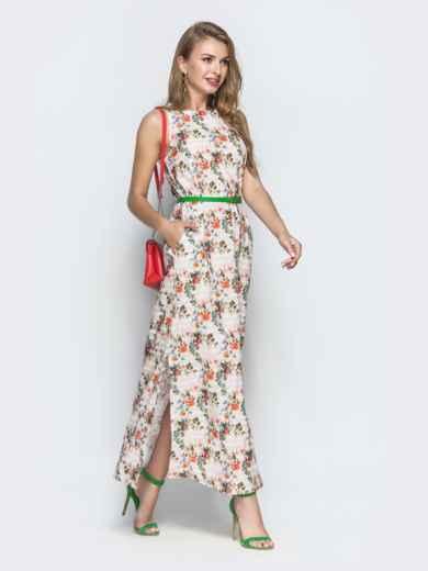 Платье из хлопка с цветочным принтом бежевое - 39209, фото 2 – интернет-магазин Dressa