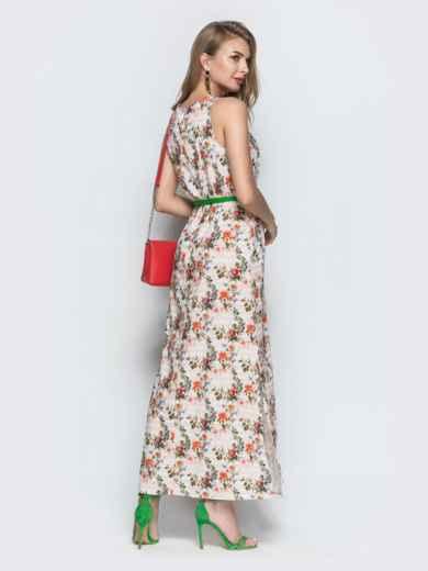 Платье из хлопка с цветочным принтом бежевое - 39209, фото 3 – интернет-магазин Dressa