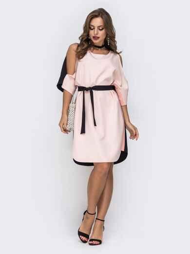 платье прямого кроя с открытыми плечами пудровое 42846, фото 1