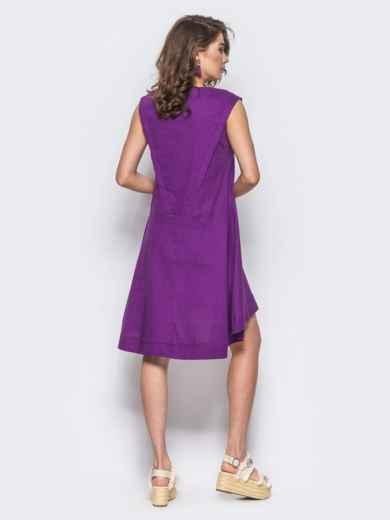 Платье свободного кроя с v-образным вырезом фиолетовое - 11177, фото 2 – интернет-магазин Dressa