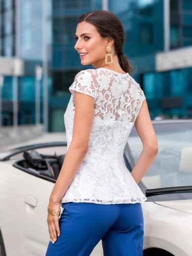 """Приталенная блузка с рукавом """"крылышко"""" белая - 40076, фото 2 – интернет-магазин Dressa"""