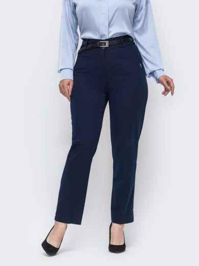 Прямые брюки большого размера тёмно-синие 50913, фото 1