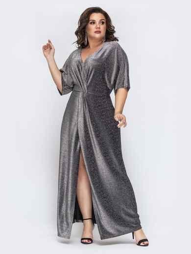 Серое платье-макси большого размера из люрекса 43283, фото 1