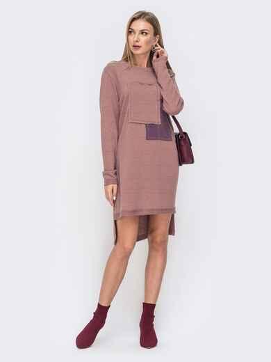 Свободное платье с удлиненной спинкой пудровое 41477, фото 1