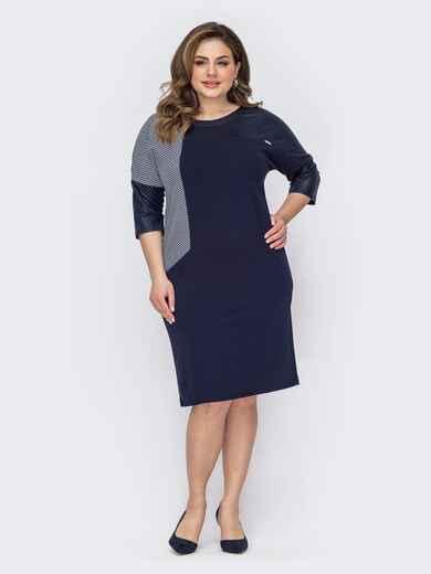 Темно-синее платье батал приталенного кроя с принтом 53576, фото 1