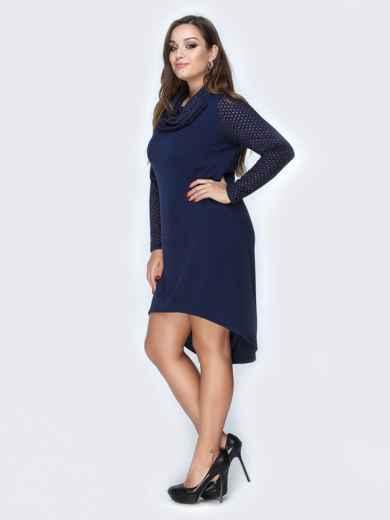 Тёмно-синее платье из ангоры с удлиненной спинкой - 19161, фото 2 – интернет-магазин Dressa
