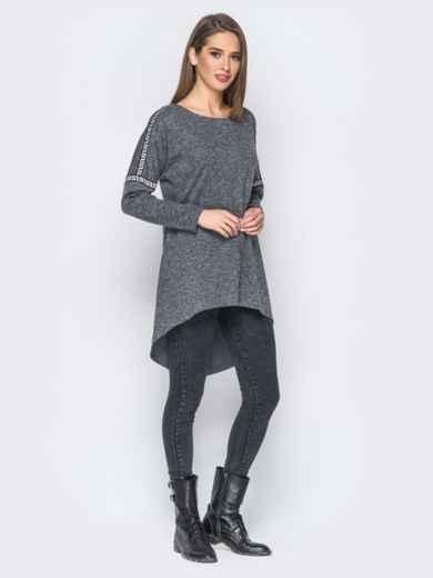 Туника со шлейфом и лампасами серая - 18200, фото 2 – интернет-магазин Dressa