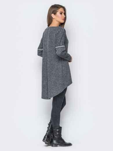 Туника со шлейфом и лампасами серая - 18200, фото 3 – интернет-магазин Dressa