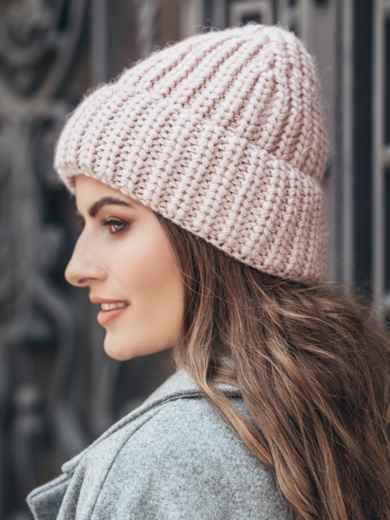 Вязаная шапка утепленная флисом розовая - 15619, фото 2 – интернет-магазин Dressa