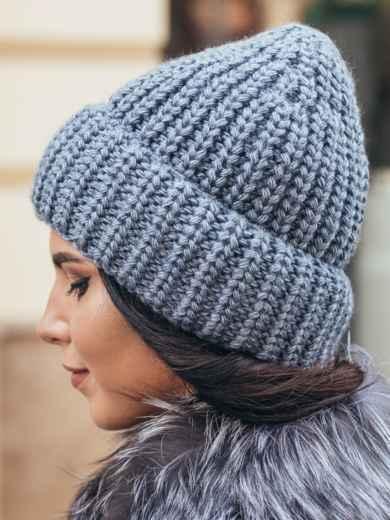 Вязаная шапка утепленная флисом синяя - 15617, фото 2 – интернет-магазин Dressa