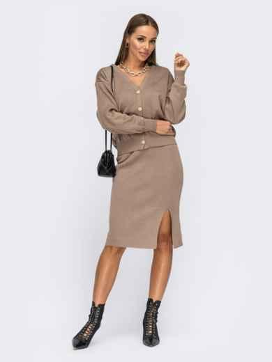 Вязаный костюм бежевого цвета из юбки и кофты 54932, фото 1