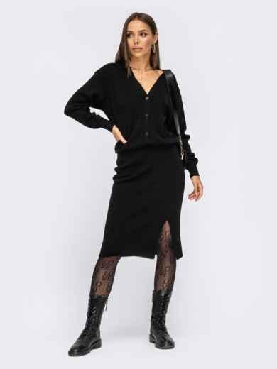 Вязаный костюм чёрного цвета из юбки и кофты 54934, фото 1