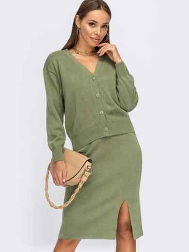 Вязаный костюм зелёного цвета из юбки и кофты 54933, фото 1