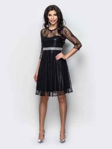 Гипюровое  платье со вшитым поясом из пайеток 22132, фото 1