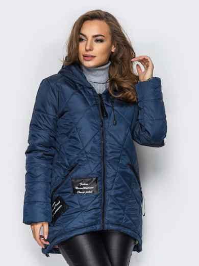 Тёмно-синяя куртка с капюшоном и нашивками спереди 15163, фото 1