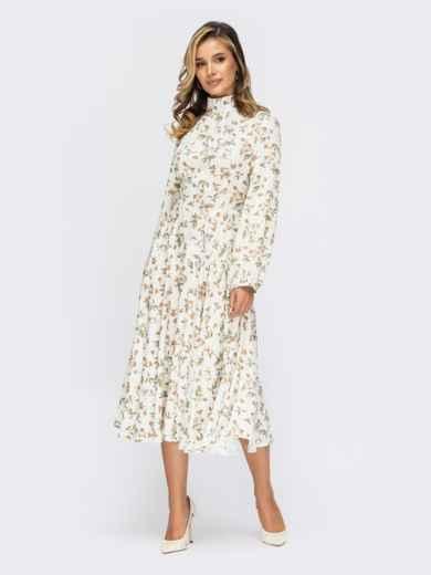 Платье молочного цвета с цветочным принтом и юбкой-клеш 55365, фото 1