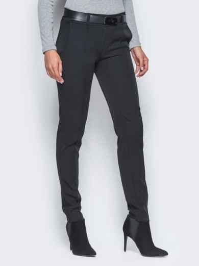 Черные брюки с отстроченными стрелками - 15722, фото 2 – интернет-магазин Dressa
