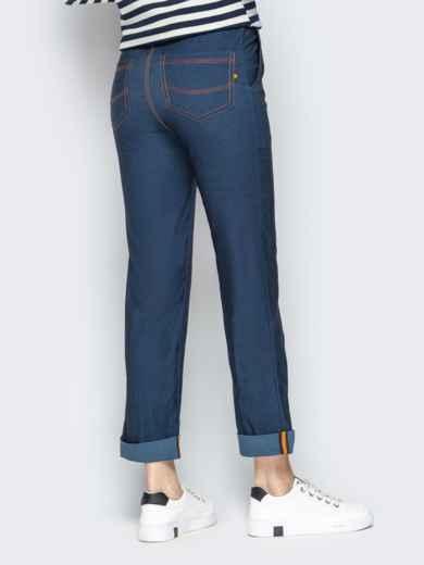 Джинсовые брюки с подворотами и резинкой по талии синие - 21059, фото 3 – интернет-магазин Dressa