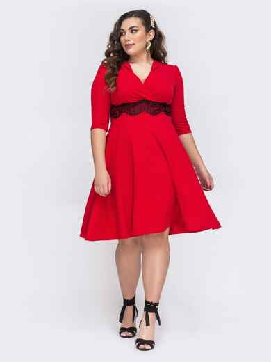 Красное платье большого размера с юбкой-полусолнце 43710, фото 1