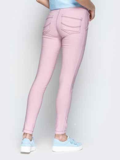 Пудровые брюки с резинкой по талии и прорезными карманами - 21061, фото 3 – интернет-магазин Dressa