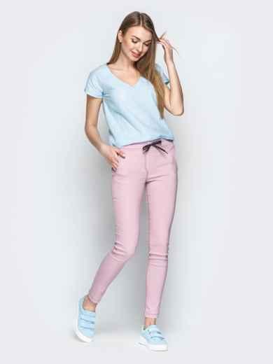 Пудровые брюки с резинкой по талии и прорезными карманами - 21061, фото 4 – интернет-магазин Dressa
