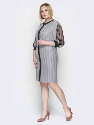 Серое платье в полоску с контрастными вставками - 20236, фото 2 – интернет-магазин Dressa