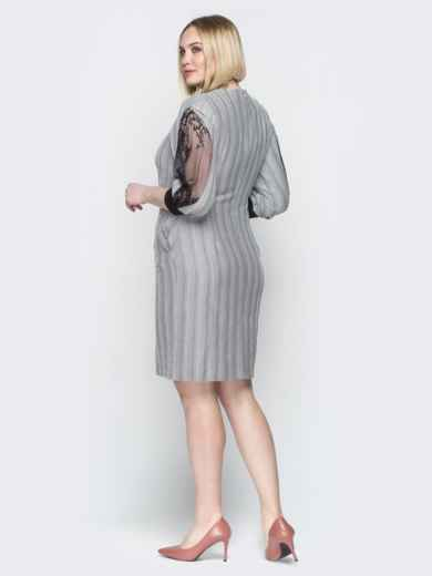 Серое платье в полоску с контрастными вставками - 20236, фото 3 – интернет-магазин Dressa