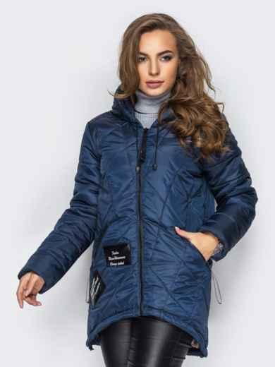 Тёмно-синяя куртка с капюшоном и нашивками спереди - 15163, фото 2 – интернет-магазин Dressa