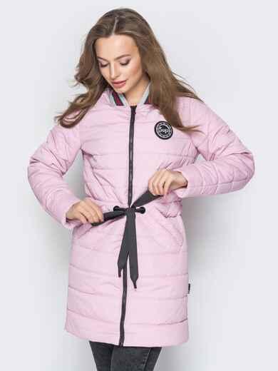 Удлиненная куртка-бомбер с кулиской на талии розовая 20245, фото 1