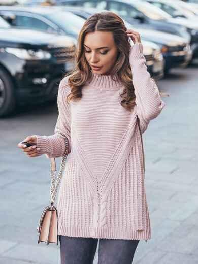 Удлиненный пудровый свитер ажурной вязки - 17092, фото 1 – интернет-магазин Dressa