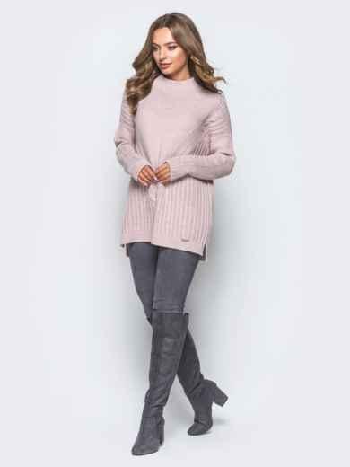 Удлиненный пудровый свитер ажурной вязки - 17092, фото 2 – интернет-магазин Dressa