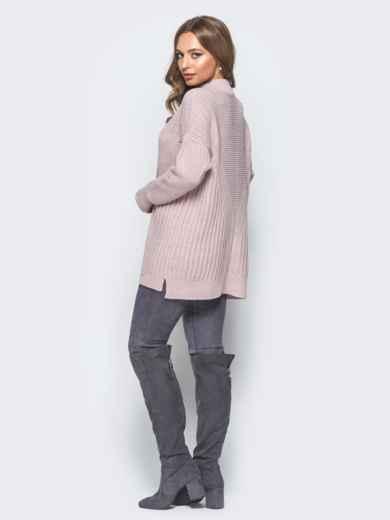 Удлиненный пудровый свитер ажурной вязки - 17092, фото 3 – интернет-магазин Dressa